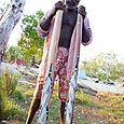 Finished artwork on didgeridoos -  Kakadu National Park : Kakadukid