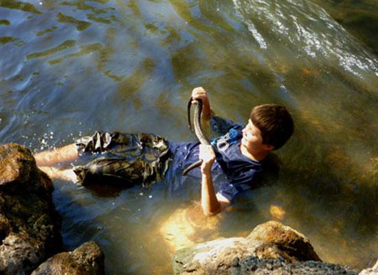 Feeling under rocks for file snakes - Djukbinj National Park - east of Kakadu National Park : Kakadu